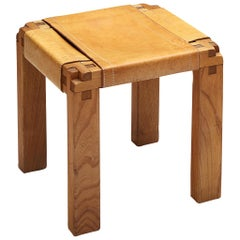 Pierre Chapo Rare Stool S11X in Elm and Cognac Leather