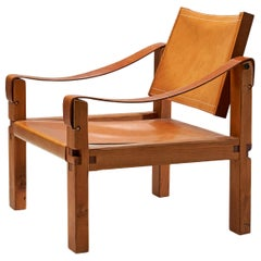 """Pierre Chapo """"S10"""" Cognac Leather Easy Chair, France, 1960s"""
