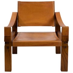 Pierre Chapo S10 X Leather Arm Chair, 1970s