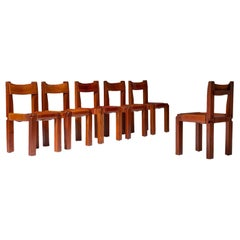 Pierre Chapo 'S11' Chairs in Solid Elm & Leather, France, 1960s