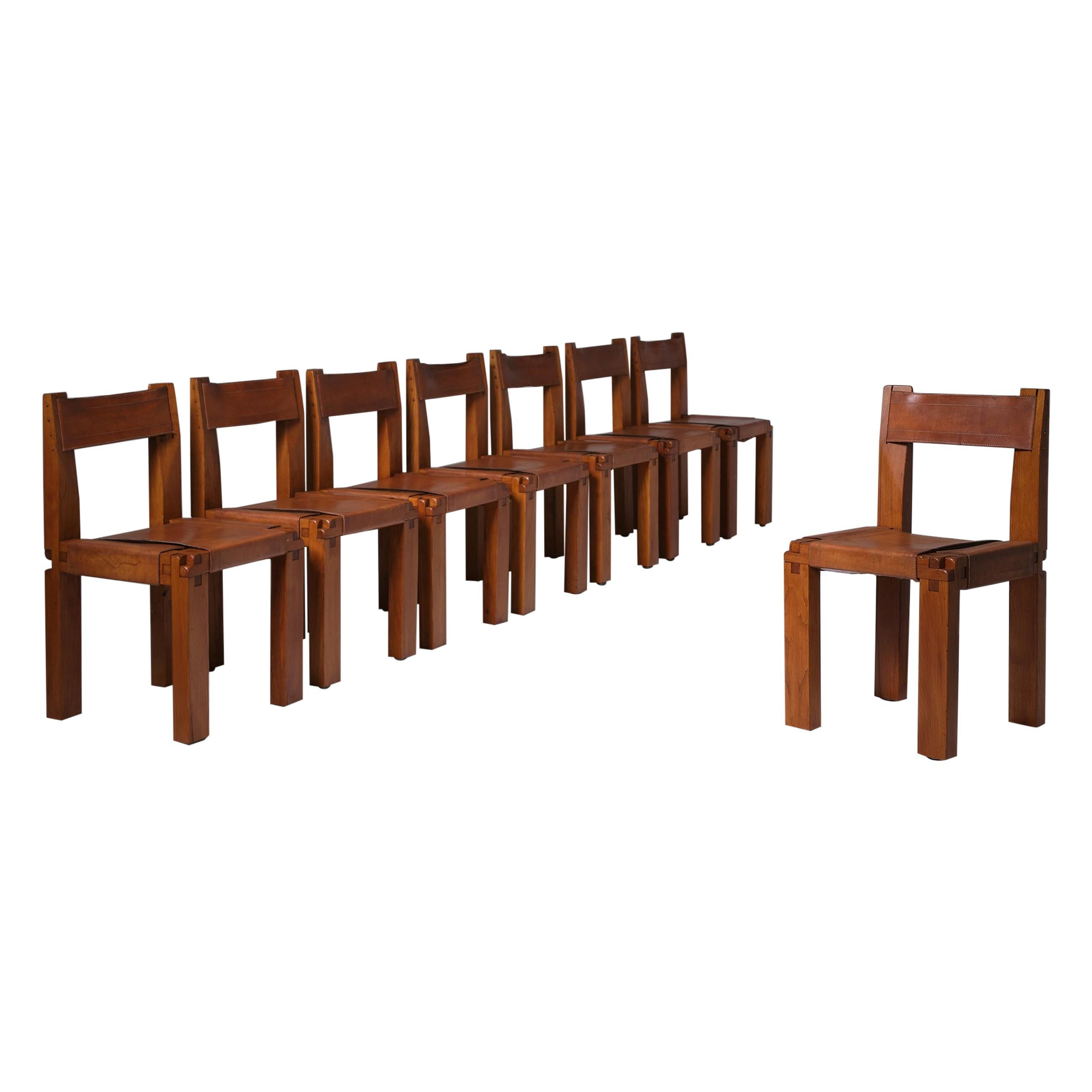 Pierre Chapo 'S11' Chairs in Solid Elm & Leather, Set of 8