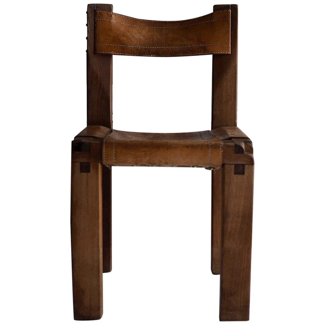 Pierre Chapo S11 Dining Chair in Solid Elm, 1960s