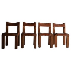 Pierre Chapo S11 Dining Chair in Solid Elm, Set of Four, 1960s