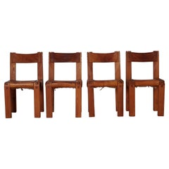 Pierre Chapo S11 Dining Chair in Solid Elm, Set of Four, Produced in 1973