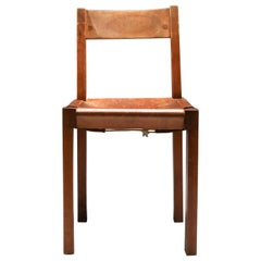 Pierre Chapo 'S24' Chair in Elm and Cognac Leather