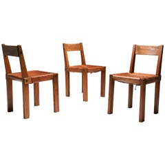 Pierre Chapo 'S24' Chairs in Elm and Cognac Leather, Three Available