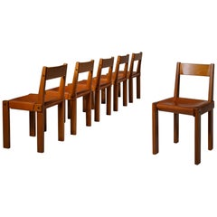 Pierre Chapo 'S24' Chairs in Solid Elm and Leather, France, 1960s