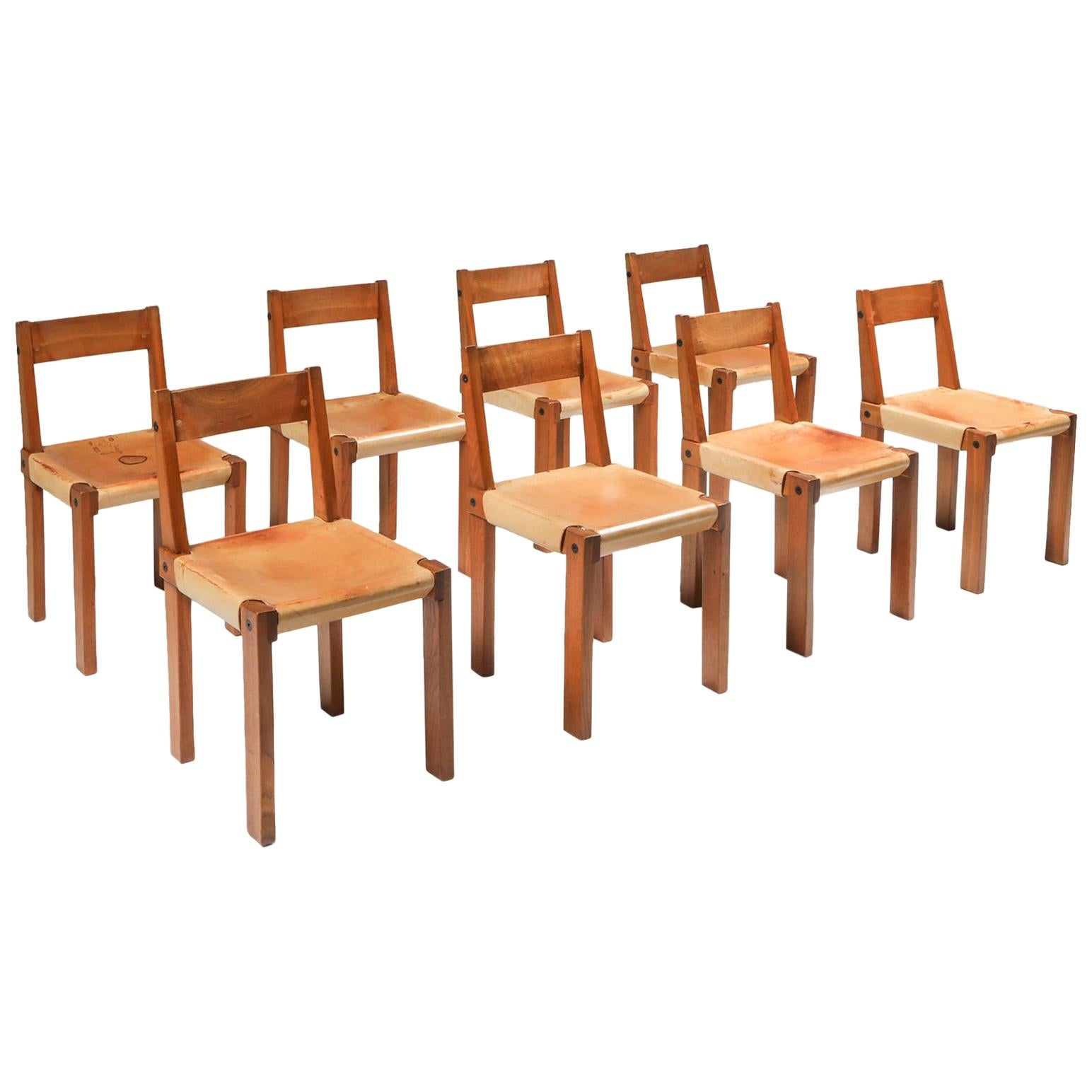 Pierre Chapo 'S24' Chairs in Solid Elm and Natural Leather
