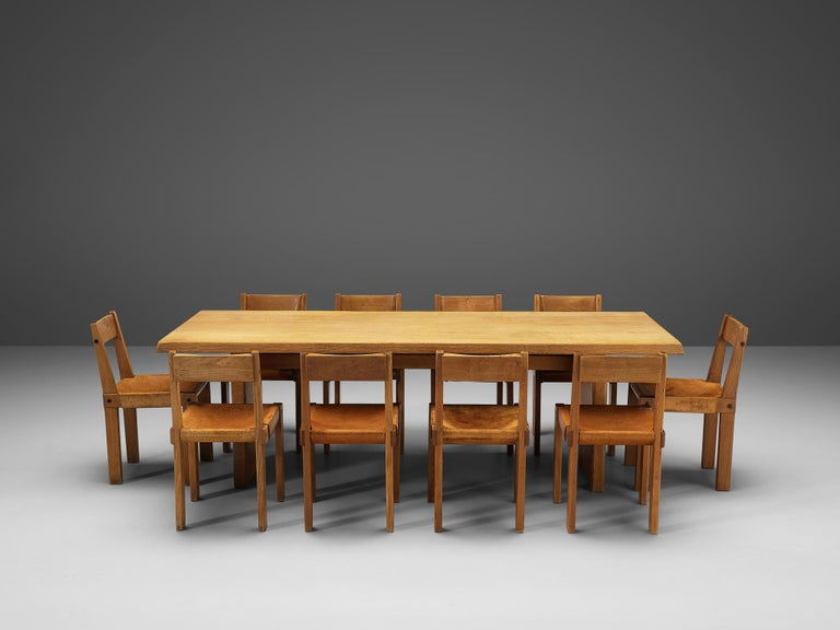 Pierre Chapo S24 Dining Chairs and 'T14D' Table 8