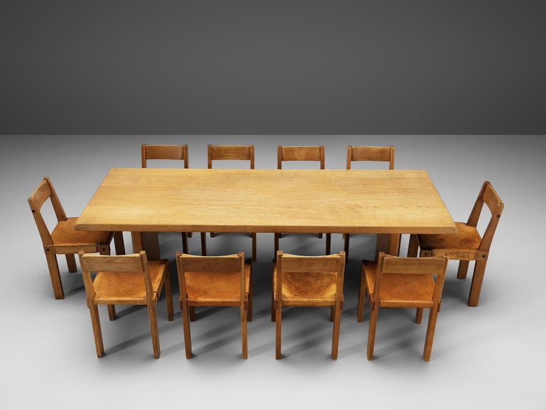 Pierre Chapo S24 Dining Chairs and 'T14D' Table 12