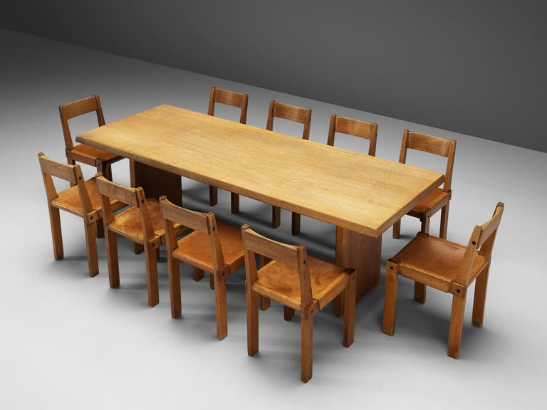 Pierre Chapo, set of ten dining chairs, model S24, elm and leather, France, circa 1966