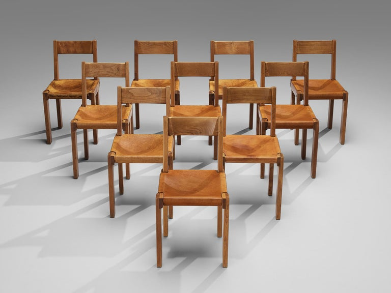 Mid-Century Modern Pierre Chapo S24 Dining Chairs and 'T14D' Table
