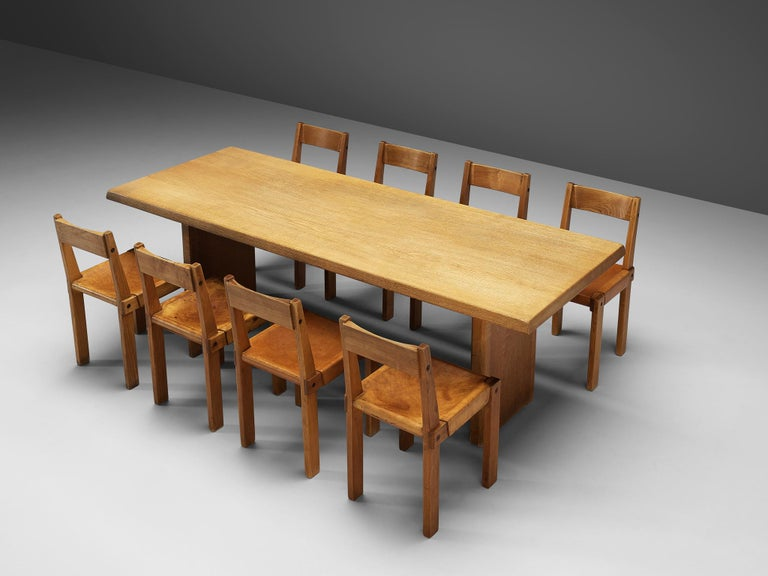 French Pierre Chapo S24 Dining Chairs and 'T14D' Table