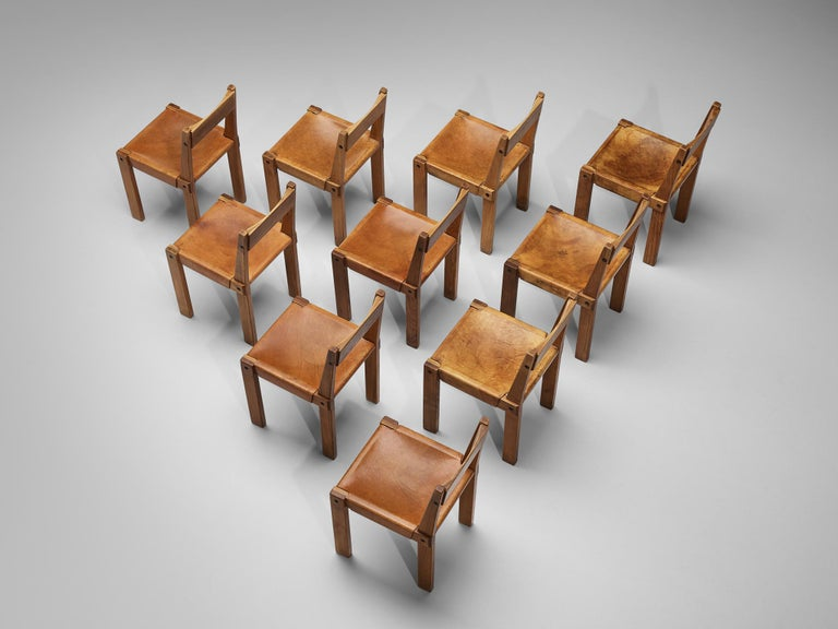 Mid-20th Century Pierre Chapo S24 Dining Chairs and 'T14D' Table