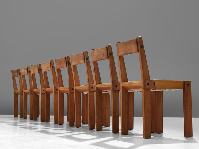 Mid-Century Modern Pierre Chapo S24 Dining Chairs in Solid Elm and Cognac Leather