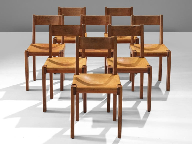 French Pierre Chapo S24 Dining Chairs in Solid Elm and Cognac Leather