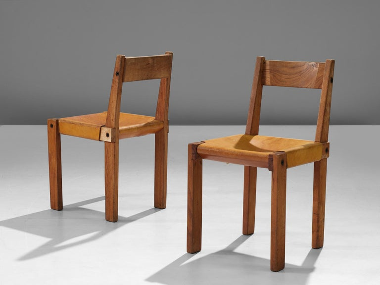 Pierre Chapo S24 Dining Chairs in Solid Elm and Cognac Leather In Good Condition In Waalwijk, NL