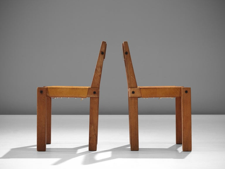Mid-20th Century Pierre Chapo S24 Dining Chairs in Solid Elm and Cognac Leather