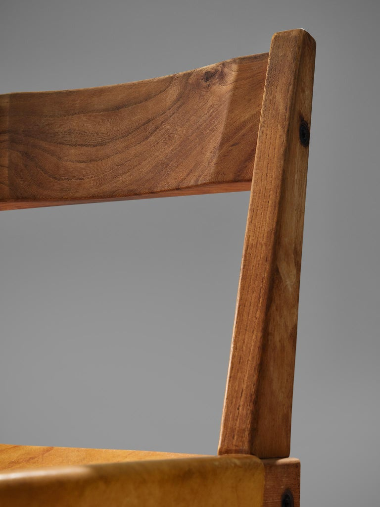 Pierre Chapo S24 Dining Chairs in Solid Elm and Cognac Leather 1