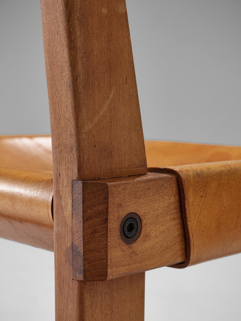 Pierre Chapo S24 Dining Chairs in Solid Elm and Cognac Leather 2