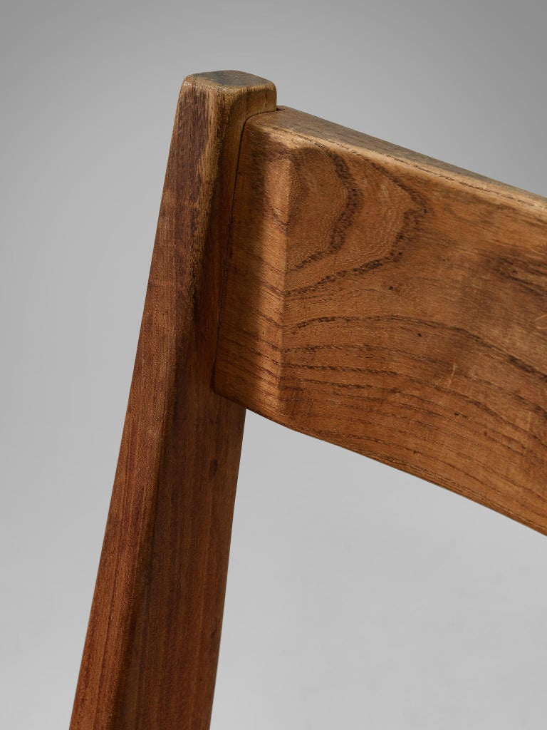 Pierre Chapo S24 Dining Chairs in Solid Elm and Cognac Leather 3