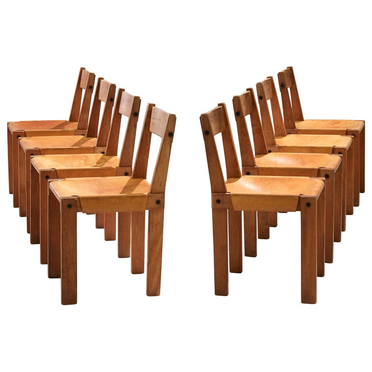 Pierre Chapo S24 Dining Chairs in Solid Elm and Cognac Leather