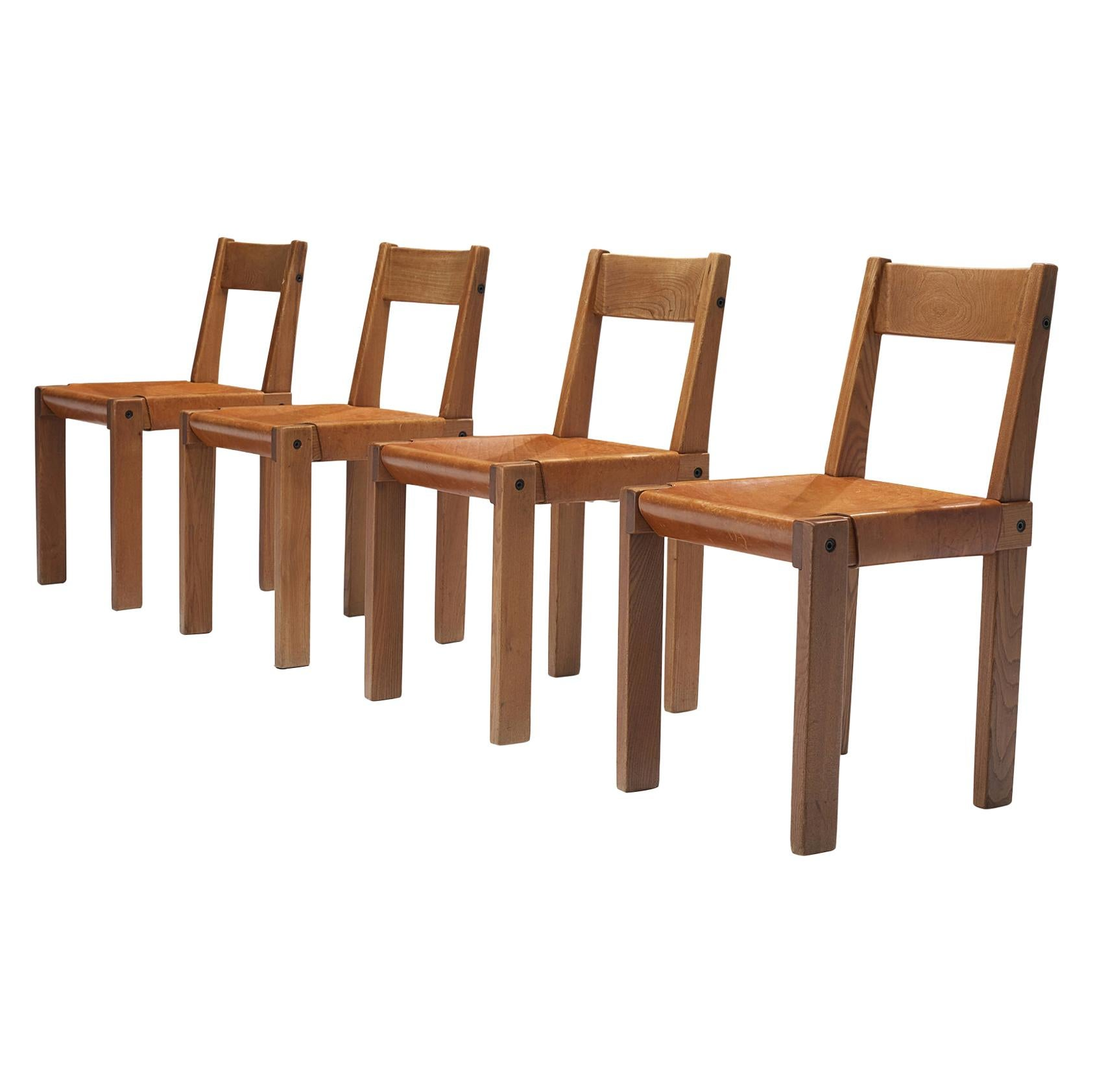 Pierre Chapo 'S24' Dining Chairs in Solid Elm and Cognac Leather