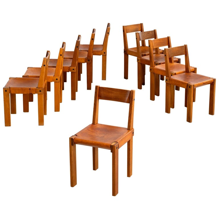 """Pierre Chapo """"S24"""" Dining Chairs, Set of 10 For Sale"""