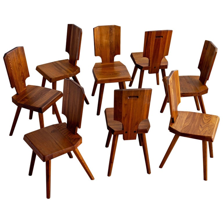 Pierre Chapo S28 Dining Chair, Set of 8 For Sale