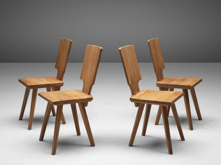Mid-Century Modern Pierre Chapo S28 Dining Chairs in Solid Elm, 1975 For Sale