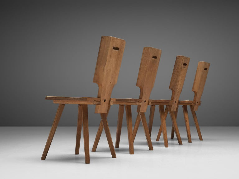 French Pierre Chapo S28 Dining Chairs in Solid Elm, 1975 For Sale