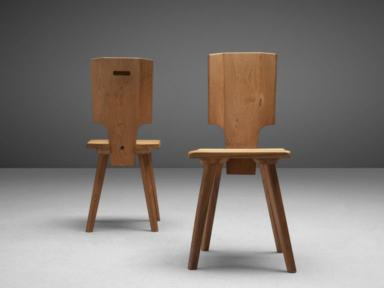 Woodwork Pierre Chapo S28 Dining Chairs in Solid Elm, 1975 For Sale