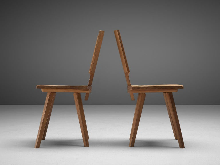 Pierre Chapo S28 Dining Chairs in Solid Elm, 1975 In Good Condition For Sale In Waalwijk, NL