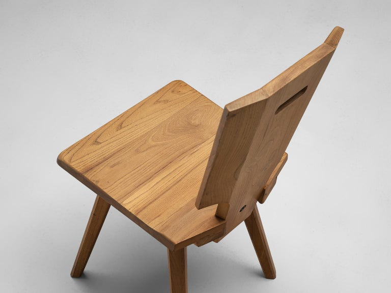 Pierre Chapo S28 Dining Chairs in Solid Elm, 1975 For Sale 1