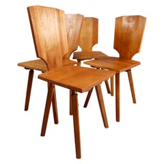 Pierre Chapo S28 Dining Chairs in Solid Elm