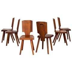 Pierre Chapo S28 Dining Chairs, Set of 6