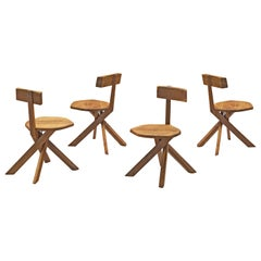 Pierre Chapo 'S34' Chairs in Elm