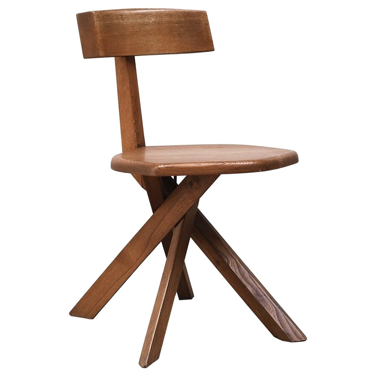 Pierre Chapo S34 Dining Chair in Solid Elm, 1960s