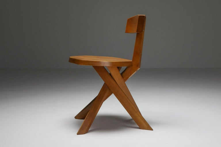 Pierre Chapo 'S34' Dining Chairs in Solid Elm, 1960s For Sale 4
