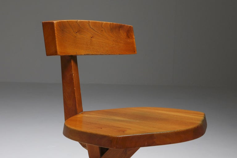 Pierre Chapo 'S34' Dining Chairs in Solid Elm, 1960s For Sale 5