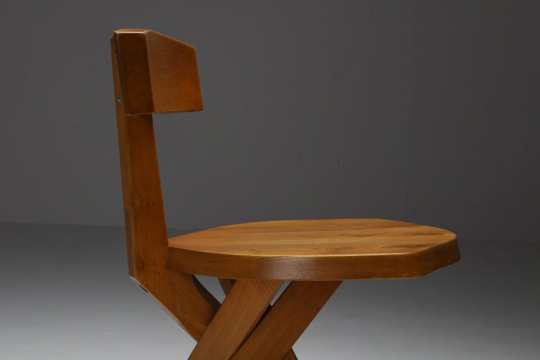 Pierre Chapo 'S34' Dining Chairs in Solid Elm, 1960s For Sale 8