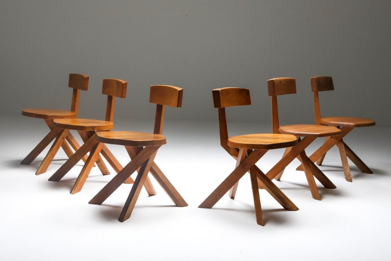 Mid-Century Modern Pierre Chapo 'S34' Dining Chairs in Solid Elm, 1960s For Sale