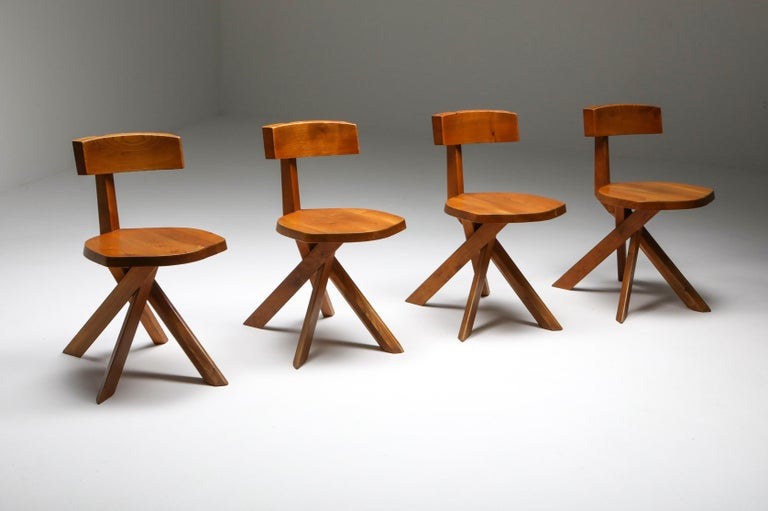 French Pierre Chapo 'S34' Dining Chairs in Solid Elm, 1960s For Sale