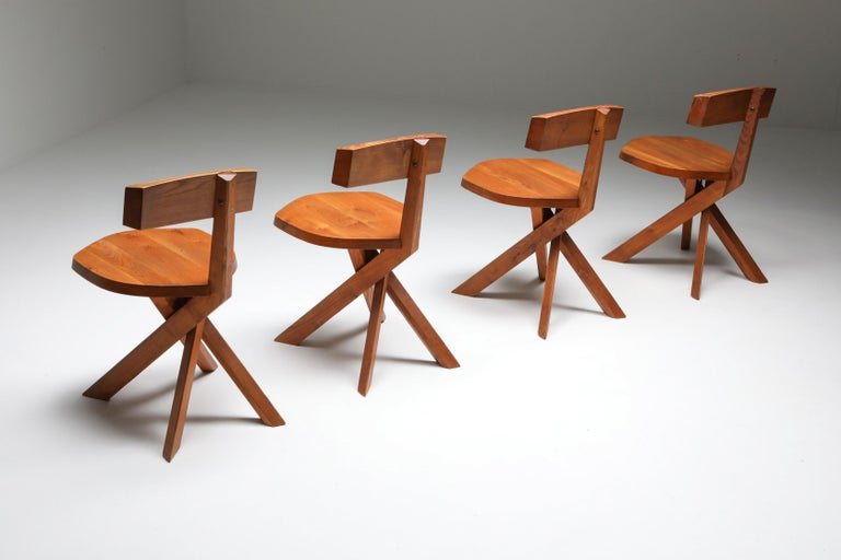 Pierre Chapo 'S34' Dining Chairs in Solid Elm, 1960s In Excellent Condition For Sale In Antwerp, BE