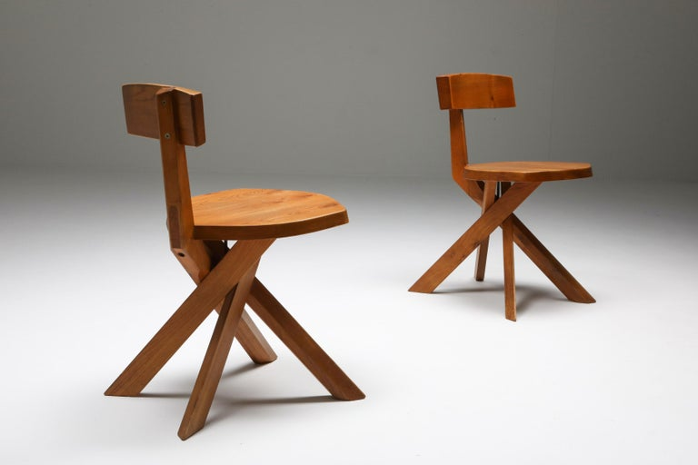 Mid-20th Century Pierre Chapo 'S34' Dining Chairs in Solid Elm, 1960s For Sale