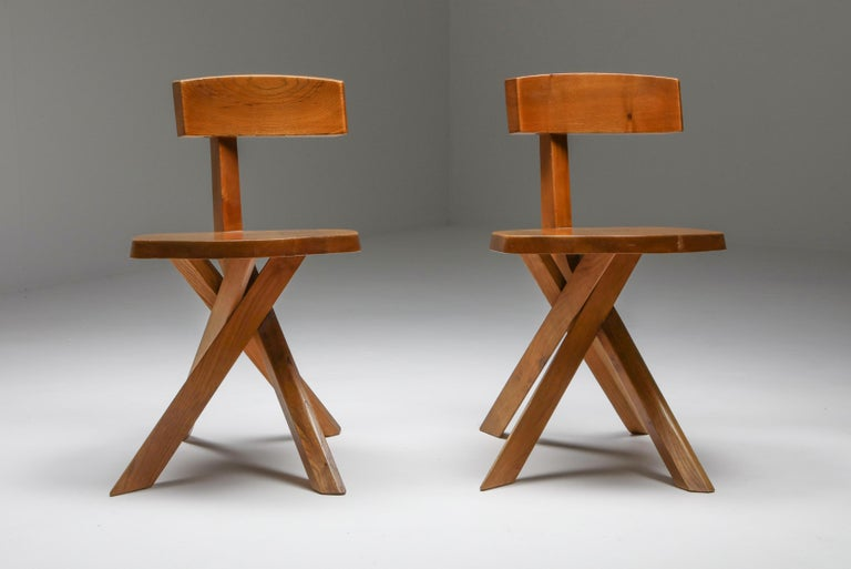 Pierre Chapo 'S34' Dining Chairs in Solid Elm, 1960s For Sale 1