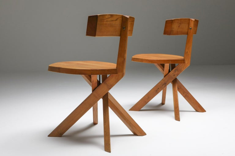 Pierre Chapo 'S34' Dining Chairs in Solid Elm, 1960s For Sale 2