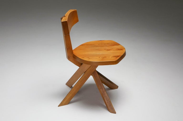 Pierre Chapo 'S34' Dining Chairs in Solid Elm, 1960s For Sale 3