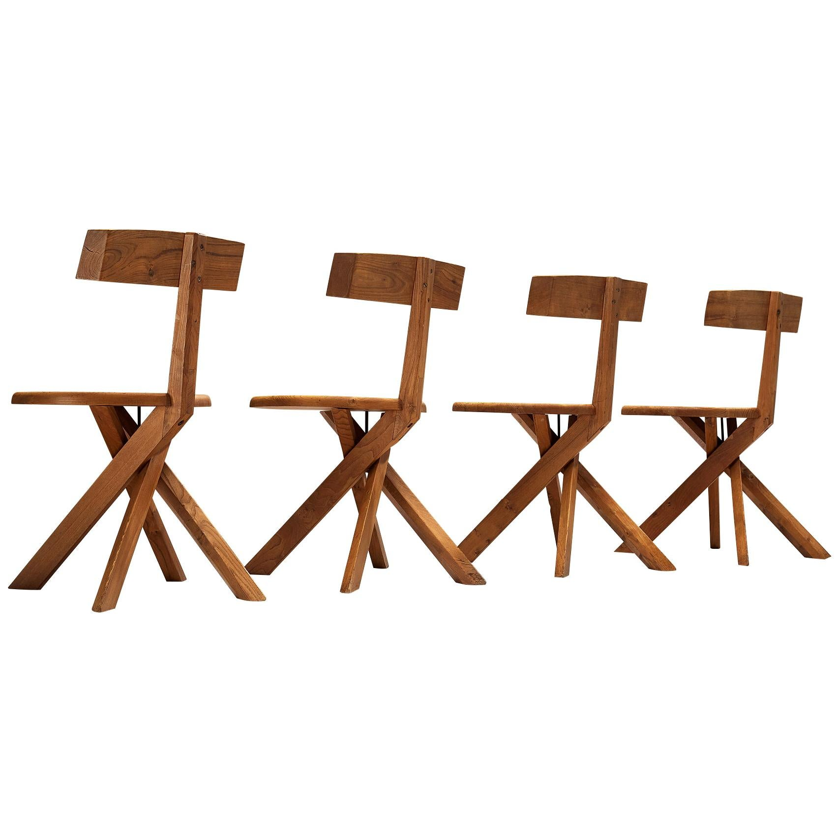 Pierre Chapo Sculptural Chairs Model 'S34' in Solid Elm