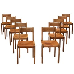 Pierre Chapo Set of 10 Dining Chairs Model 'S24' in Elm and Cognac Leather